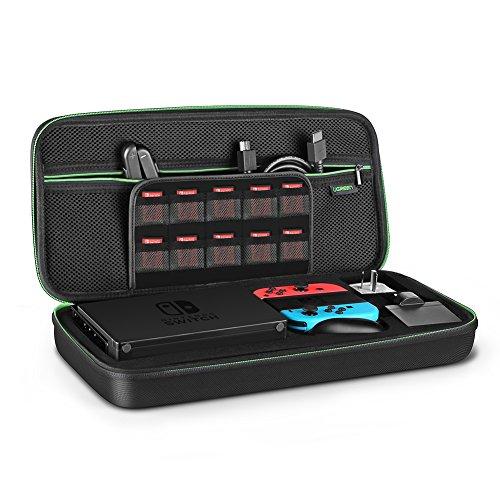 UGREEN Custodia Rigida per Nintendo Switch Borsa in EVA Antiurto con Maniglia per Console, Docking Station, Joy-Con, 20 Cartucce di Giochi, Adattatore di Alimentazione e Altri Accessori Digitali. Nero