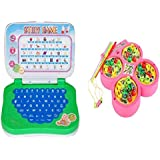 Combo Of English Mini Laptop With Musical Fish Catching Game For Kids