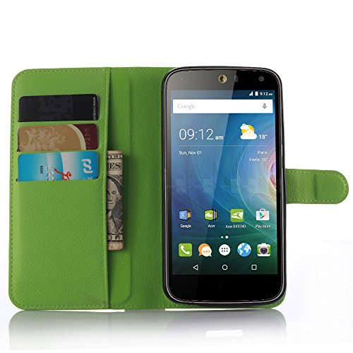 Nadakin Acer Liquid Z630 Z630S Hülle, Premium Leder Schutzhülle Flip Mappen Kasten Abdeckung Handyhülle aus Taschenhülle mit Kreditkartenhaltern Standfunktion Geldbeutel Magnetverschluss für Acer Liquid Z630 Z630S (Grün)