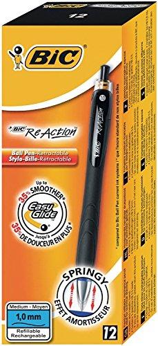 BIC Druckkugelschreiber ReAction (0.32 mm, mit gefederter Spitze, Schachtel à 12 Stück) schwarz