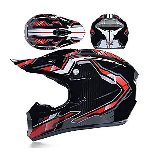 Casco Motocross Four Seasons Casco Cross Unisex Casco Moto Uomo DH Sport Enduro Discesa Dirt Bike Quad Casco Moto Fuoristrada per Adulto Adulto Uomo Donna@Nero Rosso_S