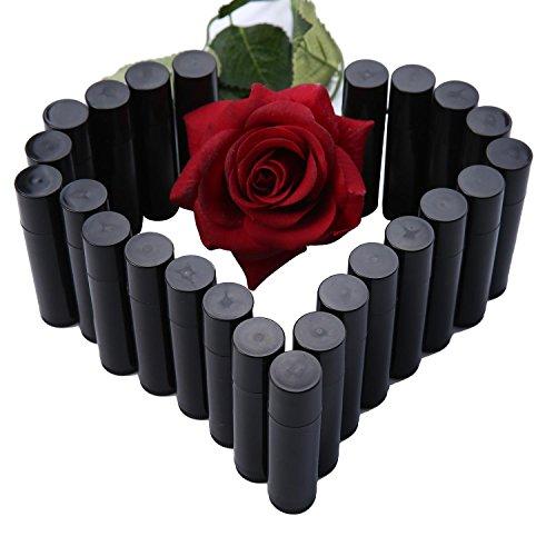 Exoh 25 pcs vide Cercle PP Baume à lèvres tubes conteneurs avec capuchon (Noir)