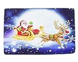 Gnzoe Flanell Teppiche Santa Claus Hirsch Muster Design Teppiche für Schlafzimmer Blau 60x40CM