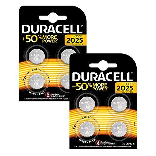 Duracell CR2025 /DL2025 Specialty Lithium-Knopfzelle 3V (entwickelt für die Verwendung in Schlüsselanhängern, Waagen, Wearables und medizinischen Geräten) 8er-Packung