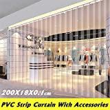 RASOME Kit di Strisce per Porta della Stanza del congelatore per Tende a Strisce in plastica in PVC Tende Trasparenti Resistenti al Vento Resistenti al Calore 200 * 18 * 0,1 cm