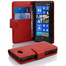 Cadorabo - Book Style Hülle für Nokia Lumia 820 - Case Cover Schutzhülle Etui Tasche mit Kartenfach in INFERNO-ROT