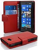 Cadorabo - Etui Housse pour Nokia Lumia 820 - Coque Case Cover Bumper Portefeuille (avec fentes pour cartes) en ROUGE CERISE
