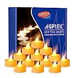 AGPTEK 100er Pack LED Flammenlose Kerzen Flackernde batteriebetriebenede Teelichter für Party Hochzeit Halloween weihnachtliche Decoration- Gelb -