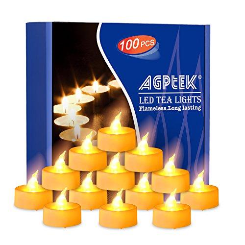 AGPtek Lot 100 Velas de LED Decorativas Operadas por Pila Sin Fuego Velas Eléctricas para Bodas Fiestas Decoración