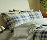 Catherine Lansfield Tartan Stripe Pillowcases - Navy