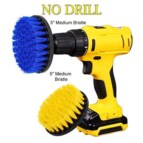 OxoxO drill Brush–5,1cm 7,6cm 10,2cm 12,7cm le setole di media attacco scrubber kit di pulizia per cucina bagno superfici mattonelle docce Carpet parquet, piastrelle