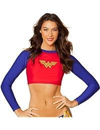 Dc Comic Wonder Woman Crop Rash Guard Long Sleeve Shirt Swimwear