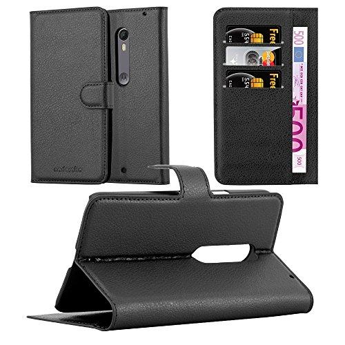 Cadorabo - Etui Housse pour > Lenovo (Motorola) MOTO X STYLE < – Coque Case Cover Bumper Portefeuille (avec stand horizontale et fentes pour cartes) en NOIR DE JAIS