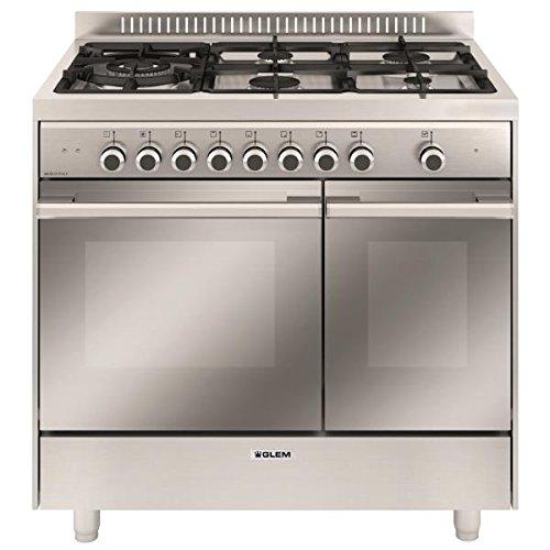 Glem GXD96CVIX Autonome Cuisinière à gaz B Acier inoxydable four et cuisinière - fours et cuisinières (Autonome, Acier inoxydable, Rotatif, En haut devant, 1,2 m, Cuisinière à gaz)
