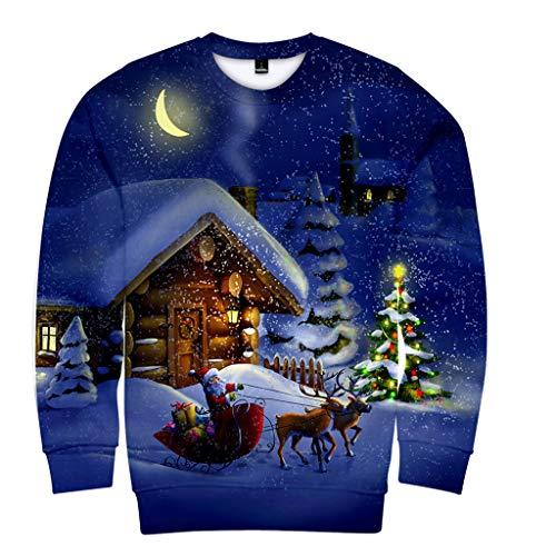 Casual Pullover Lover Sweatshirt 3D-Druck Top, ☆Elecenty☆ Warmen Mantel XS-XXXXL Lange Ärmel Bluse Christmas Langarmpullover Outwear Sportbekleidung (Long Johns Blend)