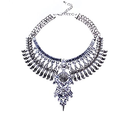 YAZILIND Crystal Flower Pendant Necklace Bib Statement Silver Plated Chain Choker Chunky Collar Women