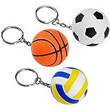 ASIV 3 Stücke Sport Ball Schlüsselanhänger Gummi Squeeze Bälle für Stress Relief (Fußball, Baskball, Volleyball)