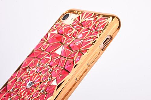 Plating Rubber Case Protettivo Skin per Apple iPhone 7Plus 5.5(NON iPhone 7 4.7), CLTPY Moda Shiny Brillantini Glitter Sparkle Lustro Oro Progettare Protezione Ultra Sottile Leggero Cover per iPhone Rosa-1