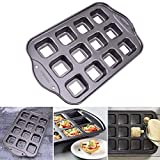 Best Brownie Pans - Behavetw 12Fori Antiaderente Quadrat-Stampo, Heavy Carbon Bakeware Brownie Review