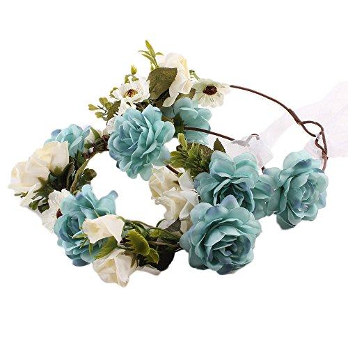 nkranz Blumenstirnband Handwerk für Festival Hochzeit Blumenkrone für Mädchen Brautjungfer Festival Urlaub für Mutter & Baby Mädchen 2 Pcs (Blau) ()