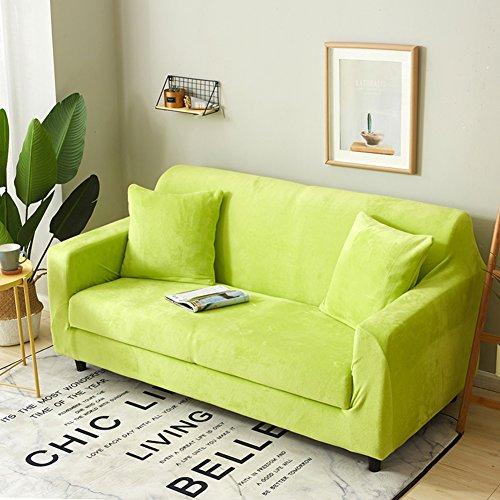 DW&HX Surefit Sofa abdeckung Stretch 1-stück Sofa Überwurf Anti-rutsch Schmutzresistent Einfarbig Sofa throw Für 1 2 3 4 Sitzer Couch -Grün Liebe Sitze (Zwei Sitz Couch)