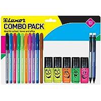 Luxor 1377/17CS - Kit de 5 rotuladores, 10 bolígrafos y 2 portaminas, multicolor