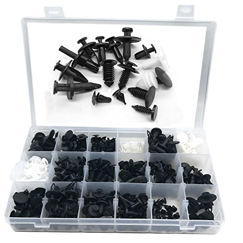 415Pcs Vehicle Clips Agrafe Plastique Rivets pare-chocs Clips Bouclier Garnissages Auto Universal Mttache Mixte Avec Boîte 5 pcs Outil Démontage Installation Audio Garniture Intérieur Installation