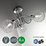 Lámpara de techo con bolas de cristal I Foco LED I Incluye 3 x 3,5 W bombillas LED G9 I Luces LED orientables y giratorias I Barra I Color cromado I Barra curvada I 230 V I IP20 I Longitud: 400 mm