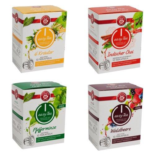 Indische Tee-set (Teekanne easy Tea 4-er Set (6Kräuter, Waldbeere, Indischer Chai und Pfefferminze) Kompatible Tee-Kapseln für Nespresso-Maschinen (40 Stück))