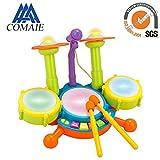 Drum Set Musik Spielzeug Instrument Educational Play Beats Kit Flash Light mit verstellbarem Mikrofon für Kinder Kinder Puzzle Früherziehung Spielzeug verschiedene Funktionen und Aktivitäten
