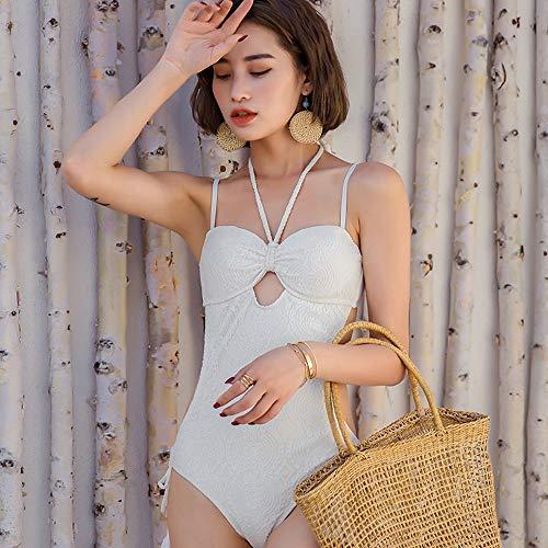 ZLULU bikini Sommer Frauen Seaside Slings Messing Backless Badeanzug Strand Siamese White Fashion Skinny Lace Fringe Einstellbare Bikini Set, XL White Lace Fringe