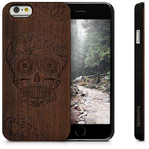 kwmobile coque de téléphone en bois pour Apple iPhone 6 / 6S case - smartphone étui de protection en bois en noyer brun foncé Sugar Skull crâne de sucre brun foncé
