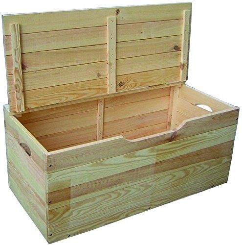 Baúl de madera con tapa para guardar juegos, herramientas, objetos, ropa, etc.