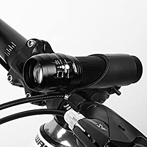 HiHiLL Luces para Bicicletas, Linterna Bicicleta, Zoom Ajustable Linterna, Delantera y Luz Trasera para Bicicleta, 3 Modos de Luz, Impermeable Bike Light Set , Negro