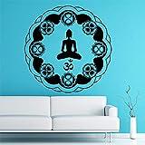 Indio Circular Mandala Patrón Om Símbolo Pegatinas de Pared Extraíble Sala de Estar...