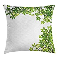 ZKHTO Leaves Decor Throw Pillow Cushion Cover, Broad Leaves Close Background Garden Organic Foliage Shrubs Cells Plant Image, Decorative Square Accent Pillow Case, 18 X 18 inches, Green White