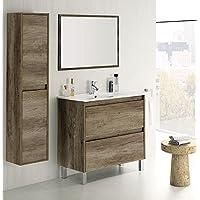 HABITMOBEL Conjunto Mueble Lavabo CERÁMICO 2 CAJONES + Espejo + Columna - mueblesdebanoprecios.eu - Comparador de precios