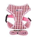 Yonfan Hundegeschirr mit Leine Soft Air Mesh Verstellbar Hund Brustgeschirr Weich für Hunde, Welpen, Katzen, Haustiere Wandern Rosa Plaid Mittelgroße