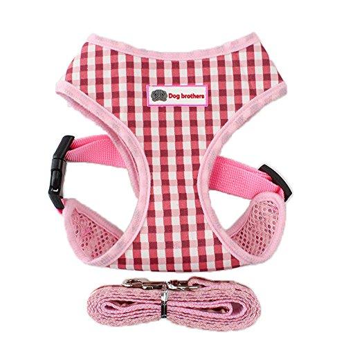 Yonfan Hundegeschirr mit Leine Soft Air Mesh Verstellbar Hund Brustgeschirr Weich für Hunde, Welpen, Katzen, Haustiere Wandern Rosa Plaid Kleine (Yorkshire Welpen)