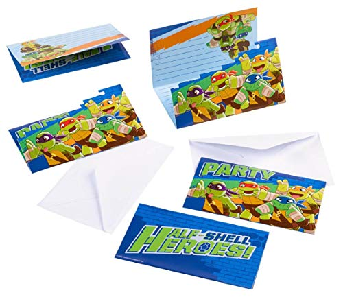 Amscan International Halbschale Helden, Teenage Mutant Ninja Turtles Party Einladungen (Pack von 8).