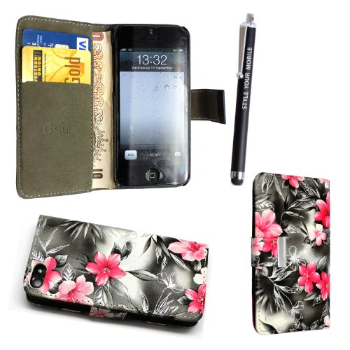 GSDSTYLEYOURMOBILE {TM} APPLE IPHONE 5 5S VARIOUS DESIGN CARD POCKET HOLDER PU LEATHER BOOK FLIP CASE COVER POUCH + STYLUS PINK FLOWER ON BLACK BOOK