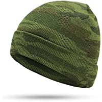 BLACK ELL Sombrero de señora, Sombrero de Hombre Sombreros de Punto para Hombre de Invierno Marca Winter Warm Gorros Touca Camuflaje CAM al Aire Libre