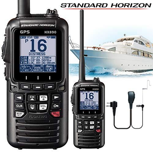 Standard Horizon HX890E Class H DSC Handheld VHF Marine Radio mit GPS - Schwarz + Comteclogic® CM-50PT Sicherheits-Headset -