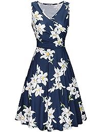 6dbcc63cd9 KILIG Women's V Neck Elegant Vintage Casual Floral Midi Dress