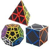 Zauberwürfel Bundle Pyraminx, Megaminix, Skewb 3 Pack Coolzon® Speed Cube Würfel Carbon Faser Aufkleber Neue Geschwindigkeits Super Schnell und Glatt