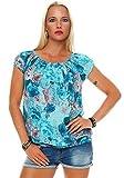 ZARMEXX Haut Femme Haut Shirt Motif à fleurs Chemisier carmen Chemise à manches courtes Viscose Fleur