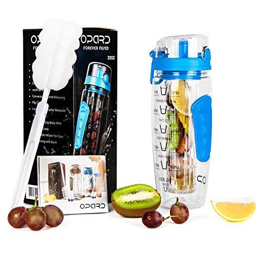Opard Trinkflasche 1 Liter Fruit Infuser Sports Trinkflasche Water Bottle Tritan BPA-frei Kunststoff Flasche mit Rezept und Pinsel (Blau) (Klar Infuser Trinkflasche)