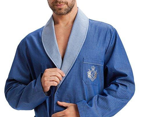 LEVERIE edler und hochwertiger Morgenmantel für Herren mit elegantem Muster Blau mit Emblem
