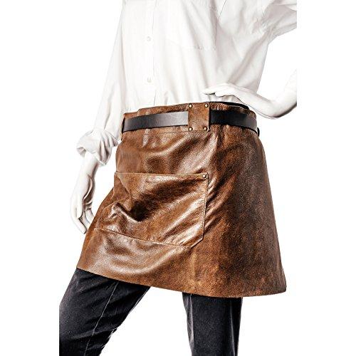 Echt Leder Kellnerschürze – Schankschürze – Grillschürze – Kochschürze –– Bistroschürze - Schürze aus hochwertigem Rindsleder mit optimaler Passform, 84 cm x 40 cm, in Farbe Braun Vintage