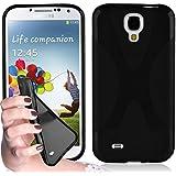 """Cadorabo - Housse Gel (silicone) design """"X"""" pour Samsung Galaxy S4 I9500 - Etui Coque Case Cover Bumper en NOIR DE JAIS"""